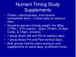 nutrient timing study supplements