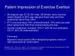 patient impression of exercise exertion