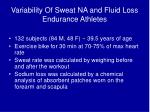variability of sweat na and fluid loss endurance athletes