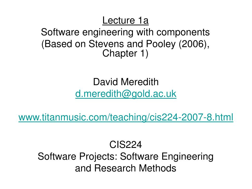 cis224 software projects software engineering and research methods l.
