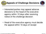 appeals of challenge decisions