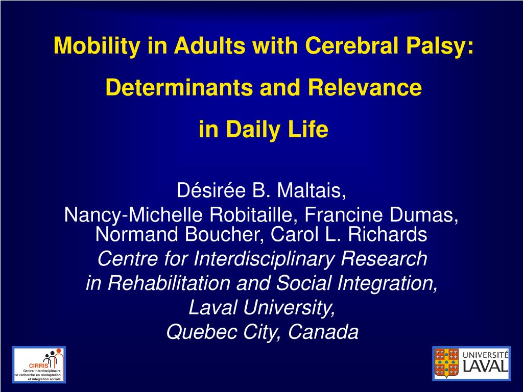 mobility in adults with cerebral palsy determinants and relevance in daily life l.
