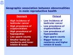 geographic association between abnormalities in male reproductive health