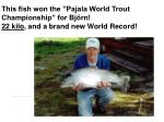 this fish won the pajala world trout championship for bj rn 22 kilo and a brand new world record