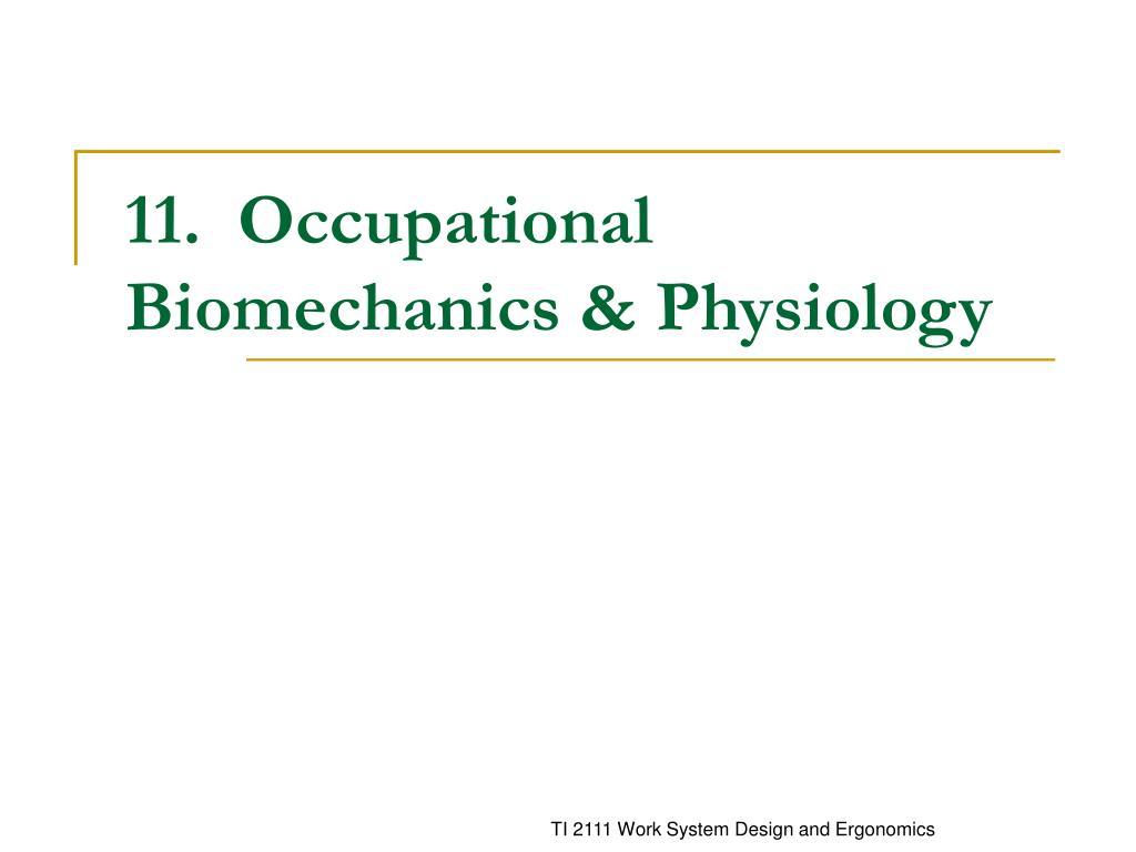 11 occupational biomechanics physiology l.