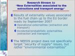 research stream 1c new externalities associated to the extractions and transport energy