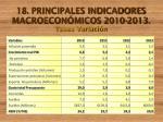 18 principales indicadores macroecon micos 2010 2013 tasas variaci n