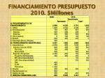financiamiento presupuesto 2010 millones