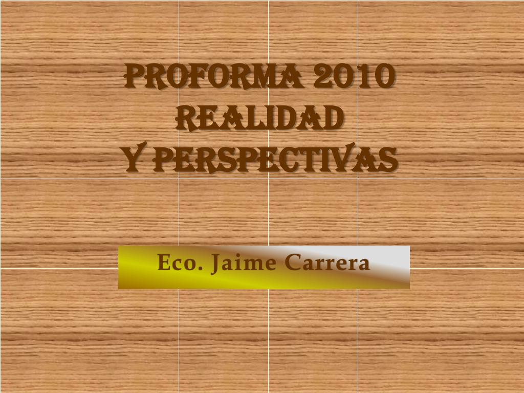 proforma 2010 realidad y perspectivas l.