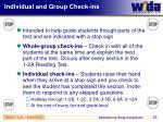 individual and group check ins