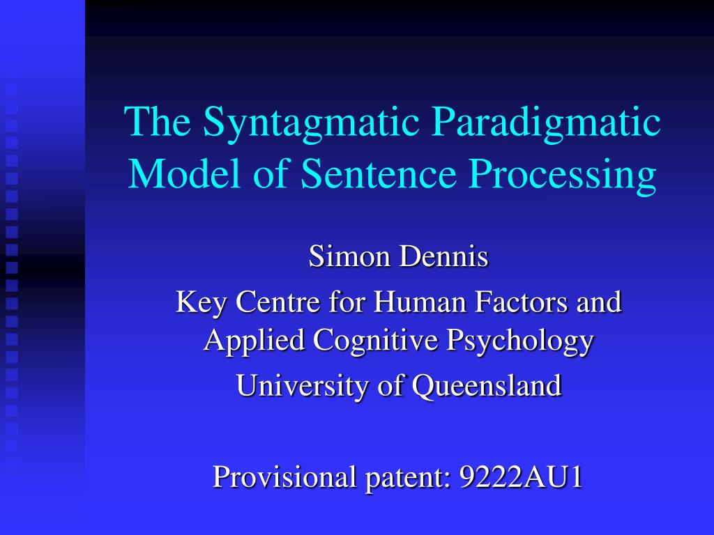 the syntagmatic paradigmatic model of sentence processing l.