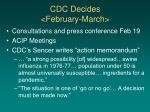 cdc decides february march