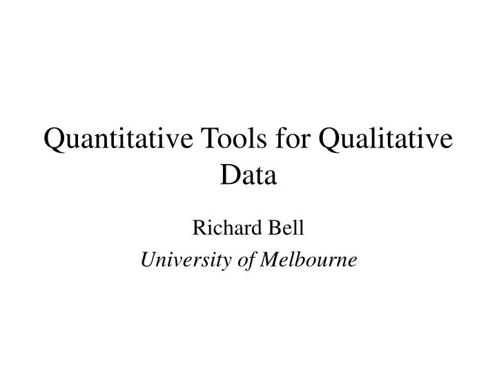 quantitative tools for qualitative data n.