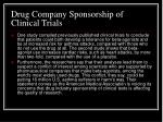 drug company sponsorship of clinical trials