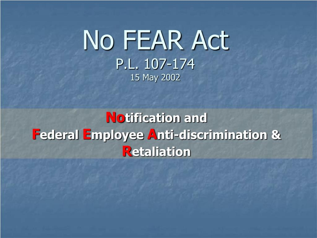 no fear act p l 107 174 15 may 2002 l.