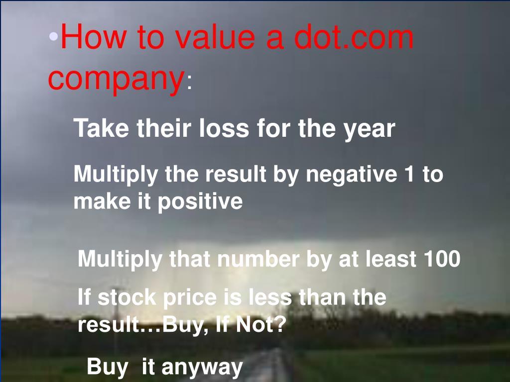 How to value a dot.com company
