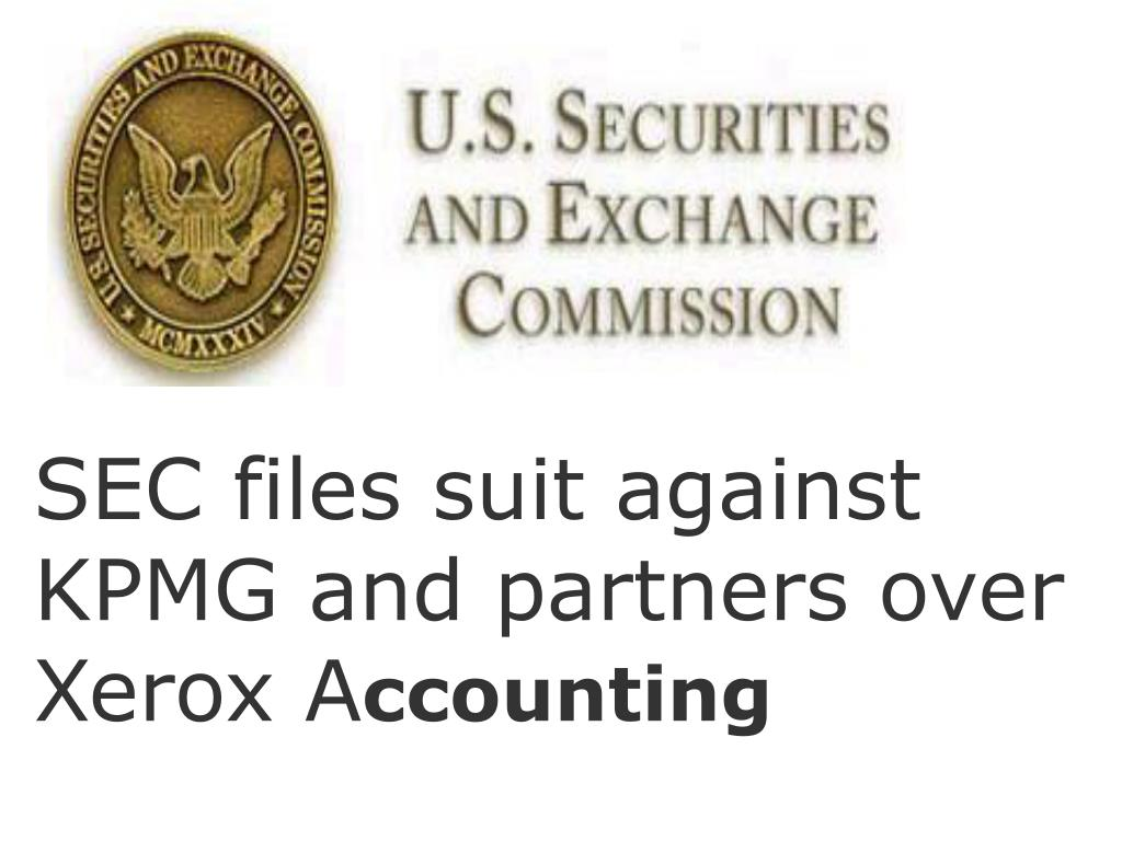 SEC files suit against KPMG and partners over Xerox A