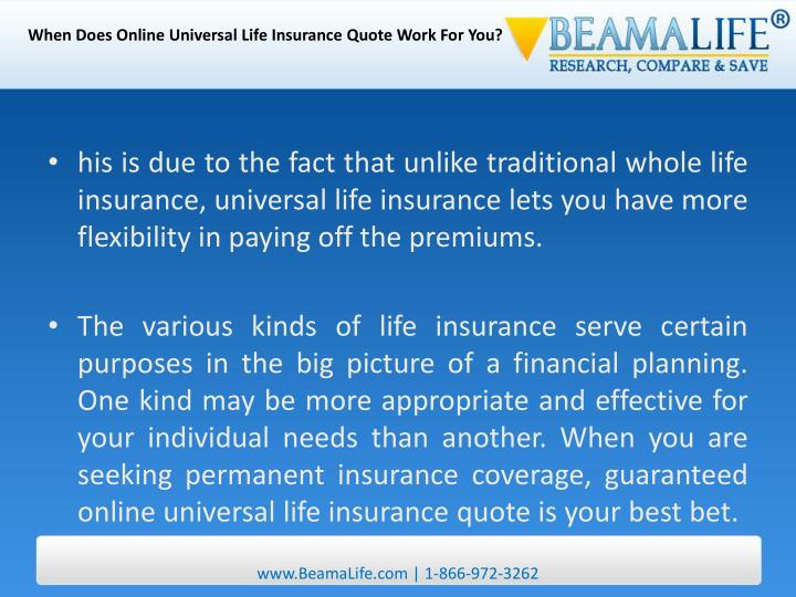 When Does Online Universal Life Insurance Quote Work For You?