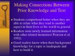 making connections between prior knowledge and text