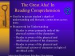 the great aha in reading comprehension
