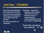 unit plan content