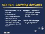 unit plan learning activities