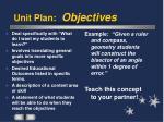 unit plan objectives
