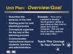unit plan overview goal