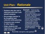 unit plan rationale