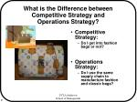 what is the difference between competitive strategy and operations strategy
