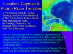 location cayman puerto rican trenches
