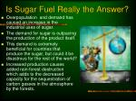 is sugar fuel really the answer