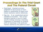 proceedings in the trial court and the federal circuit