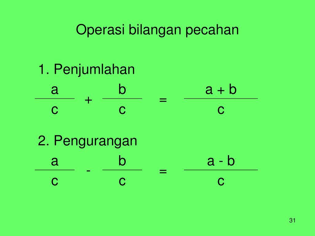 Operasi bilangan pecahan
