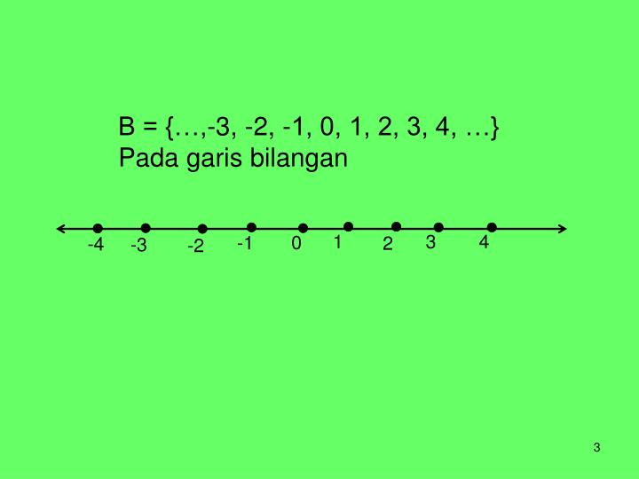 B = {…,-3, -2, -1, 0, 1, 2, 3, 4, …}