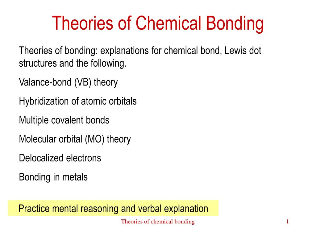 theories of chemical bonding l.