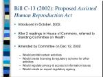 bill c 13 2002 proposed assisted human reproduction act