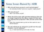 some issues raised by ahr