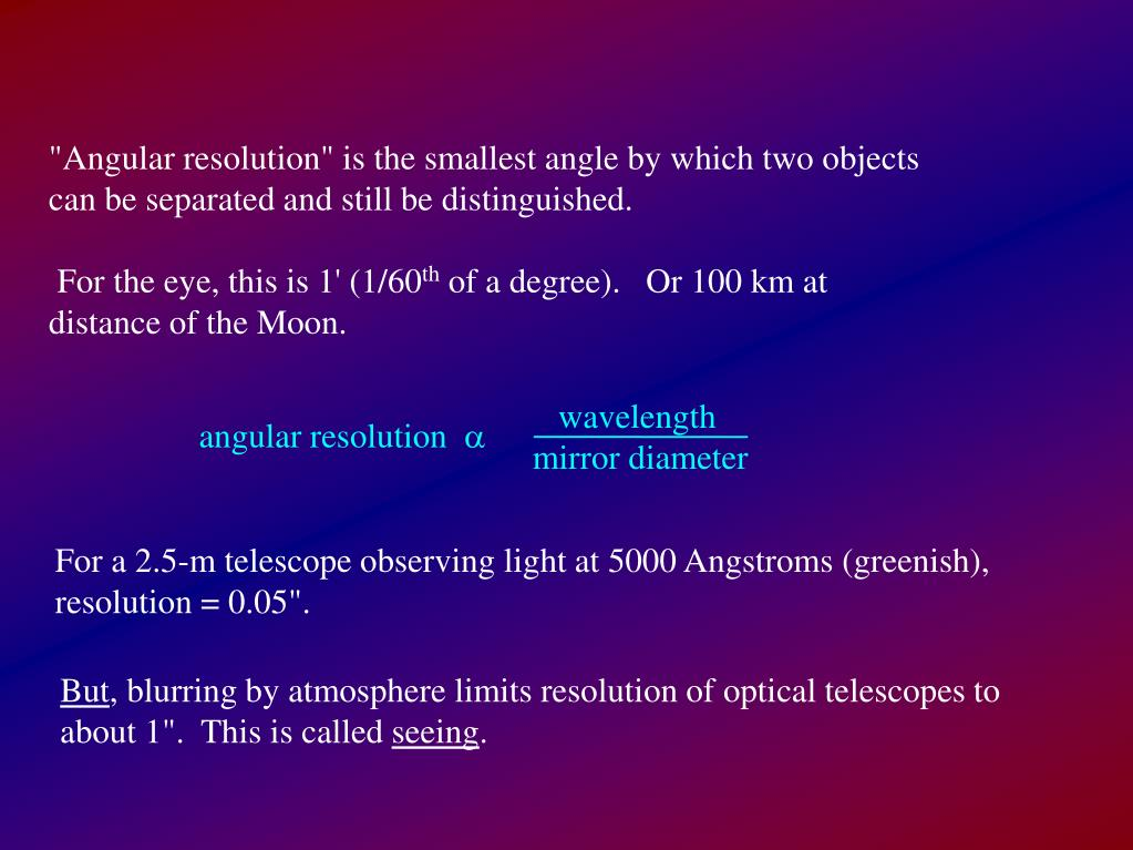 """Angular resolution"" is the smallest angle by which two objects can be separated and still be distinguished."