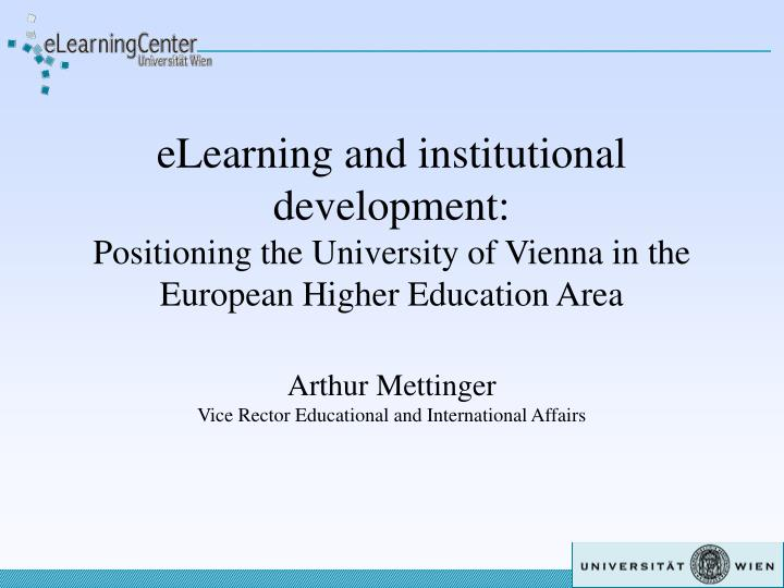 ELearning and institutional development: