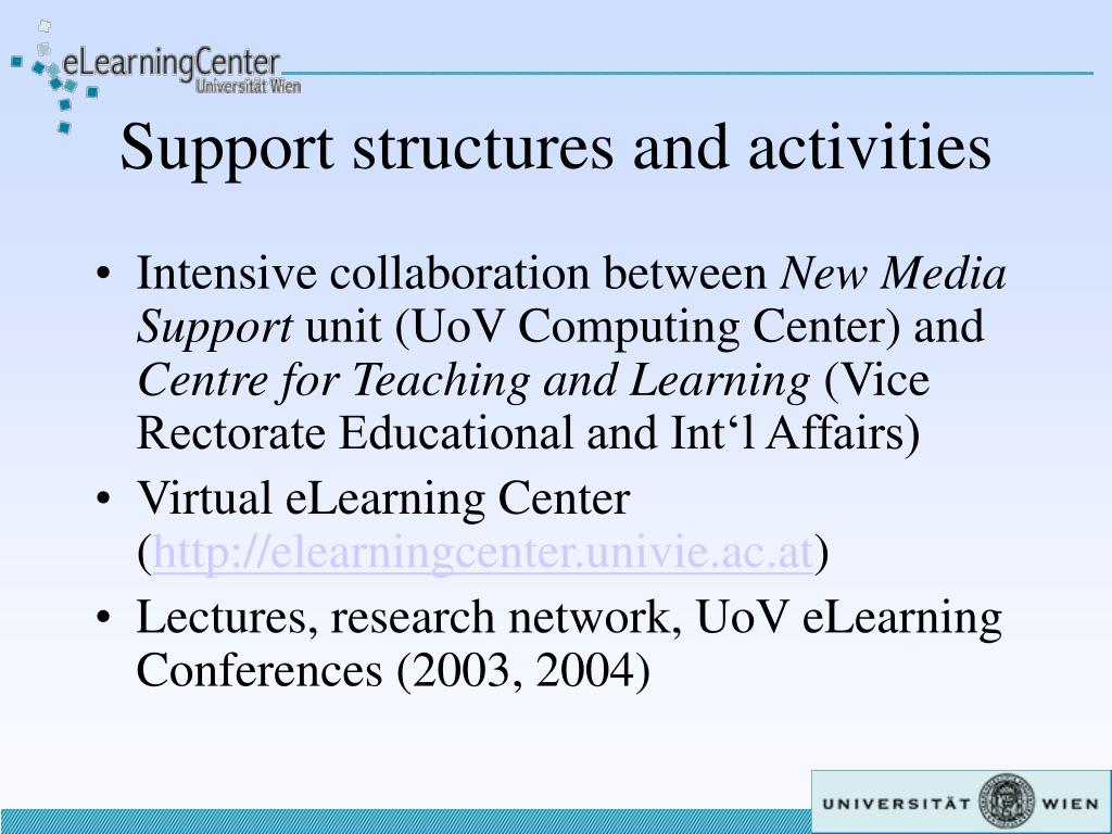 Support structures and activities