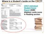 where is a student s lexile on the crct