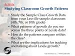 activity studying classroom growth patterns