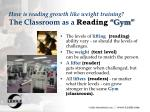 how is reading growth like weight training the classroom as a reading gym