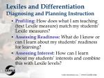 lexiles and differentiation diagnosing and planning instruction