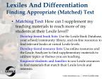 lexiles and differentiation finding appropriate matched text