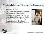 metametrics the lexile company