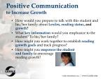positive communication to increase growth
