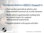 use internet databases ebsco proquest to