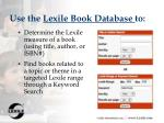 use the lexile book database to116